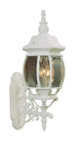 Sconce Modern Livex Lighting (Livex Lighting 7524-03 Outdoor Wall Lantern with Clear Beveled Glass Shades, White)