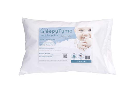 Moonlight Slumber SleepyTyme Toddler Pillow. Premium Hypoallergenic Pillow and Case for a Good Night Sleep. Perfect Size for Your 18+ Month Old. UL GREENGUARD Gold Certified (16x12x4 in.)