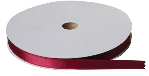 Jillson Roberts Bulk 5/8-Inch Double Faced Satin Ribbon Available in 21 Colors, Burgundy, 100 Yard Spool (BFR0908)