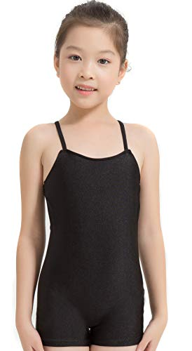 Speerise Kids Girls Nylon Spandex Unitard Sleeveless Gymnastic Biketard, Black, 12-14