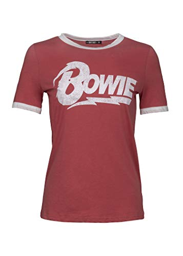 Knit Riot Womens Red and White David Bowie Band Tee Music Ringer T-Shirt Size Medium