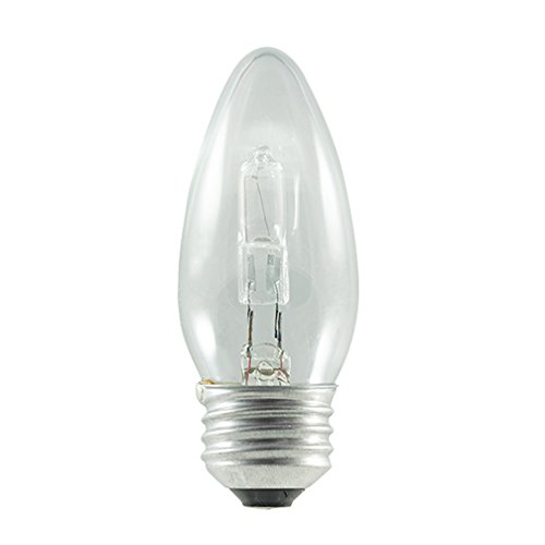 Bulbrite 616602 43B11/ETC/ECO 43W ECO Halogen B11 Torpedo Chandelier Bulb (2 Pack), Clear ()