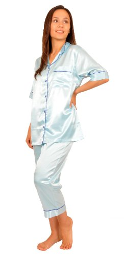 Up2date Fashion Short Sleeve PJ with Cropped Pants, Five Colors, Sizes (S, M, L & XL), Style#PJ-10 (Large, Aqua)