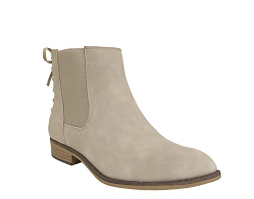 MARCIA! Womens Chelsea Style Low Heel Slip On Solid Ankle Boot Light Grey Nubuck Leatherette