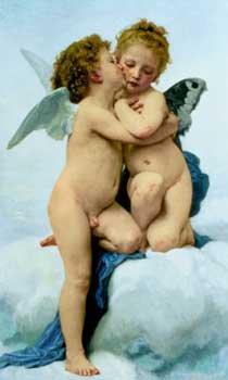 William Adolphe Bouguereau - First Kiss 24 x 40