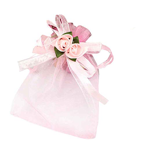Funbase 50pcs Organza Bowtie Candy Gift Pouch Drawstring Bags Festival Wedding Party - Organza Wedding Flower Rose