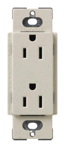 Lutron SCR-15-LS Satin Colors 15A Electrical Socket Duplex Receptacle, Limestone