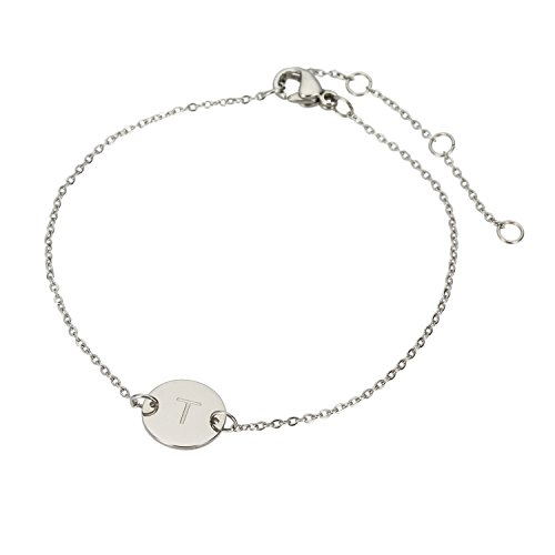 HUAN XUN Stainless Steel T Engraved Initial Bracelets for Womens