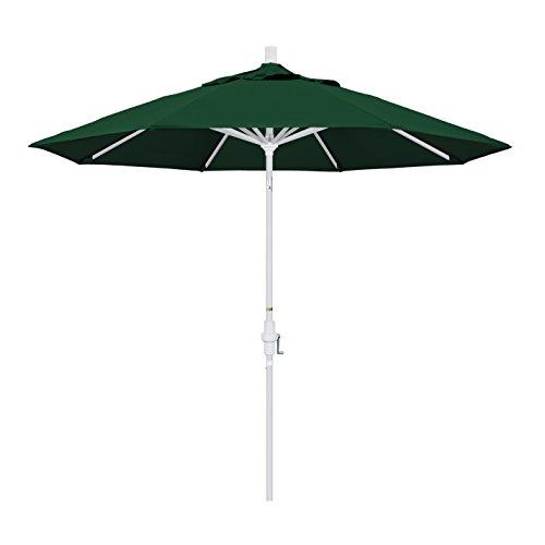 California Umbrella 9' Round Aluminum Market Umbrella, Crank Lift, Collar Tilt, White Pole, Sunbrella Forest Green