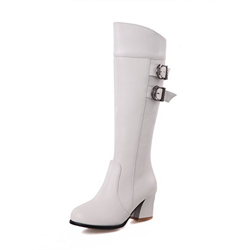 Toe AmoonyFashion Women's Round High Boots Soft Closed Kitten Top Zipper White Material Heels wUwqpv