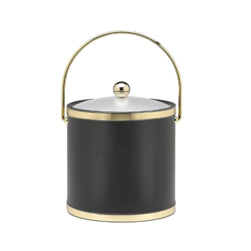 Kraftware Ice Bucket with Bale Handle and Lucite Cover - 3 (Leather Ice Bucket)