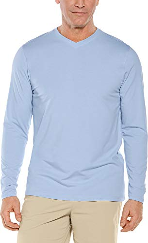 Coolibar UPF 50+ Men's Long Sleeve Everyday V-Neck T-Shirt - Sun Protective (XX-Large- Vintage Blue) ()