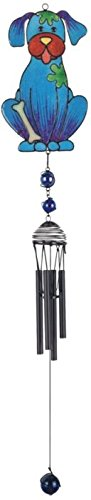 StealStreet SS-G-99953 Wind Chime with Black Coated Gems Dog Hanging Garden Porch Decoration