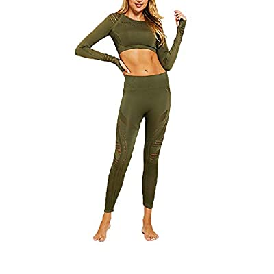 Hotexy Women's Workout Outfit 2 Pieces Seamless Yoga Leggings with Sports Bra Gym Clothes Set at Women's Clothing store