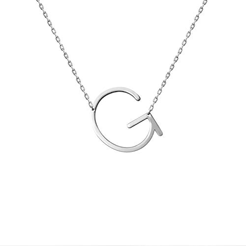 WIGERLON Stainless Steel Initial Letters Necklace for Women and Girls Color Gold and Silver from A-Z Letter G Color Sliver