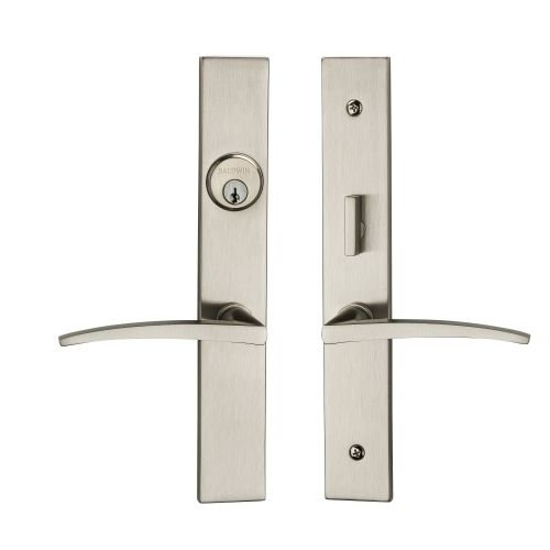 (Baldwin 6915.ENTR Santa Monica Single Cylinder Full Mortise Handleset, Lifetime Satin Nickel)