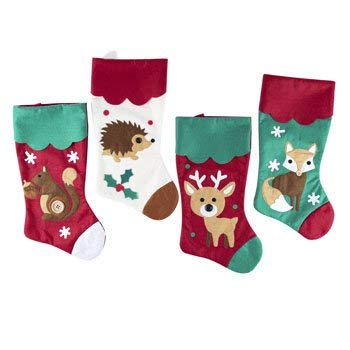 Woodland Friends Fox Hedgehog Deer Squirrel Christmas Stockings with Button Accents (Set of 4) 18in Animals by Regent