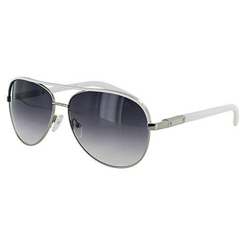 Guess Womens GUF224 Aviator Wire Rim Fashion Sunglasses, Silver/Smoke by GUESS