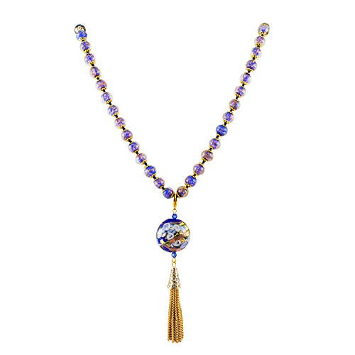 Just Give Me Jewels Genuine Venice Murano Sommerso Aventurina Blue Glass Bead Pendant Necklace ()