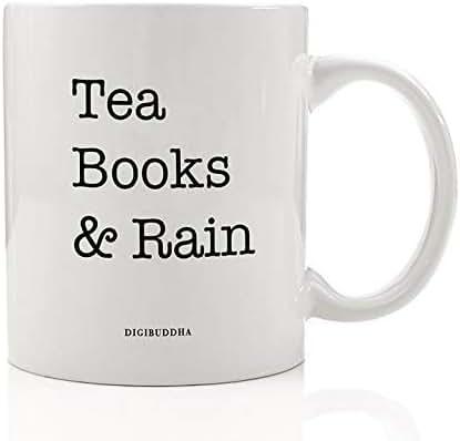 Tea Books & Rain Mug Gift Idea Good Book Lovers Reading Dream Rainy Day Snuggle Read & Cuppa Chamomile Tea Christmas Holiday Graduation Birthday Present 11oz Ceramic Tea Coffee Cup Digibuddha DM0568