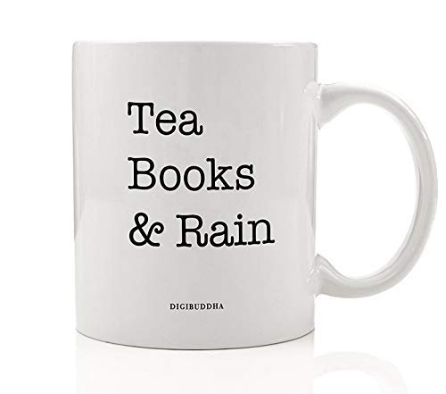 Tea Books & Rain Mug Gift Idea Good Book Lovers Reading Dream Rainy Day Snuggle Read & Cuppa Chamomile Tea Christmas Holiday Graduation Birthday Present 11oz Ceramic Tea Coffee Cup Digibuddha DM0568