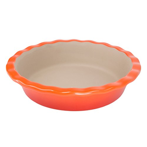 "Sticks Orange Glazed (American Bakeware 9"" Fancy Pie Pan (Sunset Orange) - Non Stick Ceramic Stoneware - Heat Resistant to 400 °F - No Metal, Lead, or other Harmful Materials - Safe for Ovens, Microwaves, Dishwasher)"
