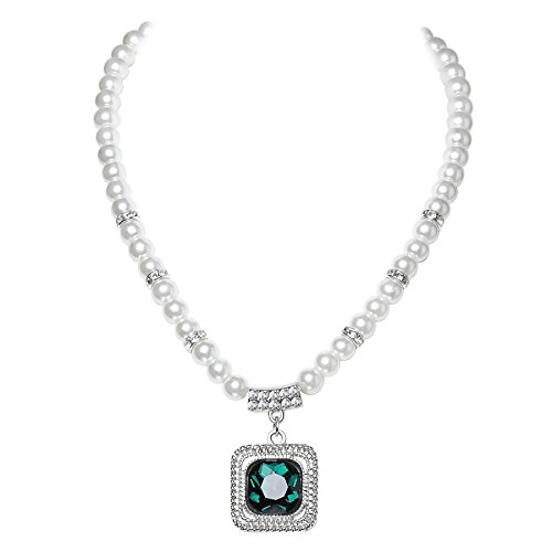 - BABEYOND 1920s Gatsby Imitation Pearl Necklace Vintage Bridal Necklace with Crystal Pendant Roaring 20s Flapper Accessories (Emerald-Green)