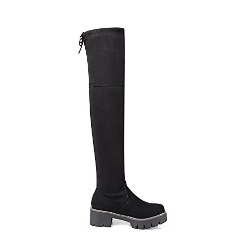 Womens BalaMasa Solid Boots Casual Black Fabric Boots B6qSzwxPR