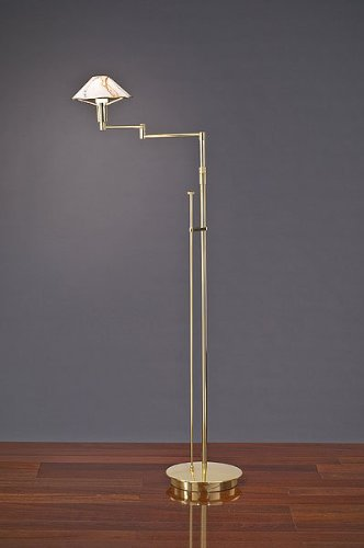 Halogen Arm Brass Swing Antique (Holtkoetter 9434 PB MRB Lighting for The Aging Eye Halogen Swing-Arm Floor Lamp, Polished Brass with Marble Glass, 9.25