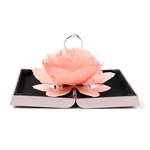 Pink Rose Ring (Wyenliz ✿Ring Box✿ 3D Pop Up Rose Ring Holder Ceremony Engagement Wedding Ring Box Uncommon Jewelry Gift (Pink))
