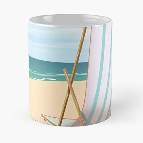 - Corsica Beach Deck Chair Cartoon - Best Gift Ceramic Coffee Mugs 11 Oz