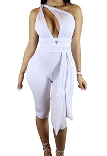 Love Needs Women White Sleeveless Variety Strap Wrap Cropped Short Jumpsuit L by Love Needs (Image #1)