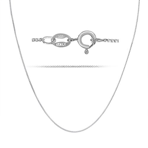 Rhodium Plated Sterling Silver Box Chain Necklace Nickel Free 1mm Made in Italy 24 (Rhodium Plated Sterling Silver Chain)