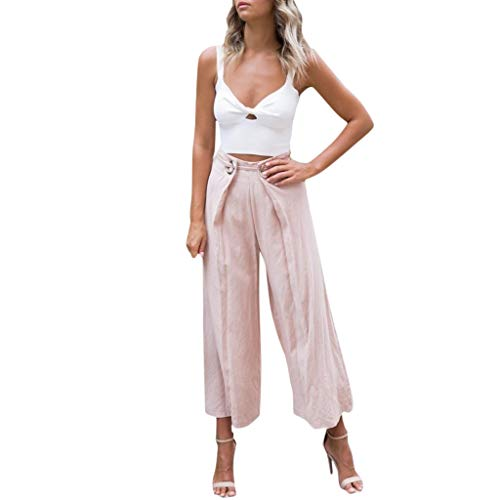 (Yucode Women Solid Vintage Ripped Womens Elastic band High Waisted Pants Wide leg pants)