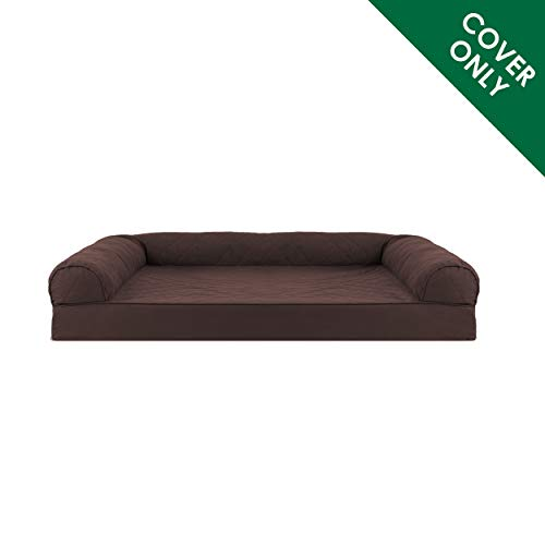 Furhaven Pet Dog Bed Cover | Quilted Traditional Sofa-Style Living Room Couch Pet Bed Replacement Cover for Dogs & Cats, Coffee, Jumbo