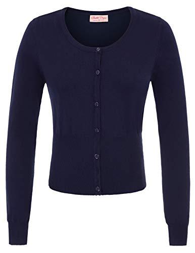 Three Long Button Cardigan (Women Crew Neck Button Down Cardigan Long Sleeve Navy Blue BP828-3)