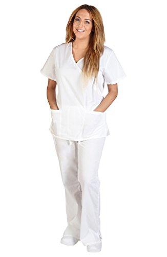M&M Scrubs Women Mock Wrap/Flare Pant Set Medical Scrub Set XS White