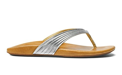 OluKai Wana - Womens Leather Comfort Sandals Silver/Sahara - 10 by OluKai