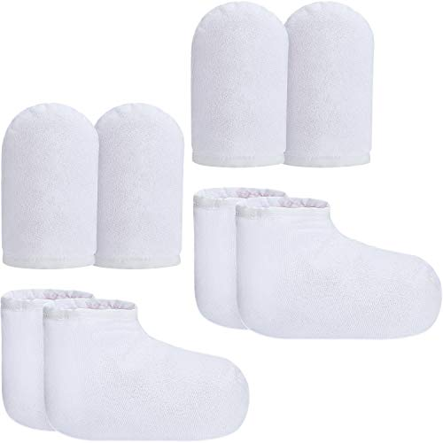Bememo 4 Pairs Paraffin Wax Mitts and Booties, Wax Bath Mitts and Booties Reusable Paraffin Wax Mitts for Hand and Feet, Terry Cloth Insulated Mittens for Heat Therapy Spa Treatment (White)