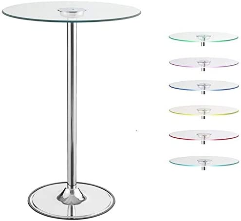 BOWERY HILL 28 Round Glass Top LED Lit Pub Table in Chrome