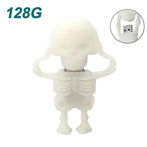 KOBWA Skeleton Shape 64GB USB Flash Drive, Data Storage U Disk, Cartoon Pen Drive Flash Memory Stick Pen Drive (128GB, White)