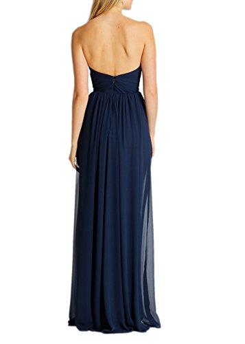 Lang Navy Partykleider Braut Blau Brautjungfernkleider Chiffon Herzausschnitt mia Rock Linie A Elegant Abendkleider La EvqW1SH8x