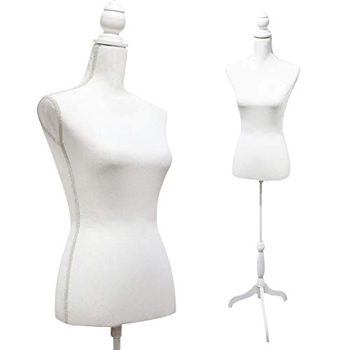 White Female Mannequin Torso Dress Form Tripod Stand Display