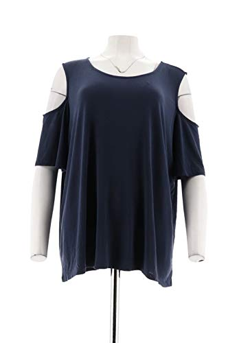 Clinton Kelly Kelly Cold Shoulder Flutter SLV Knit Top Navy L New A305903 from Clinton Kelly