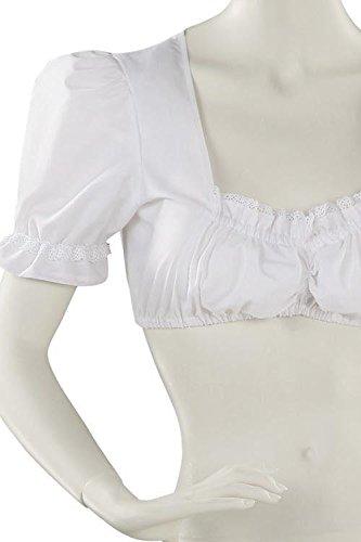Jobeline Trachtenbluse Damen Dirndlbluse Modell: Irma Farbe: Weiß Gr. 36 Bluse mit Spitze für das Dirndl