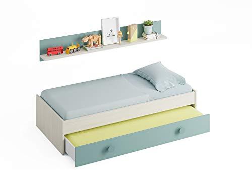 Miroytengo Pack Muebles Dormitorio Juvenil Completo Color Verde y Blanco con somieres 90x190 (Cama, Estante, Armario, Mesa y estanteria): Amazon.es: ...
