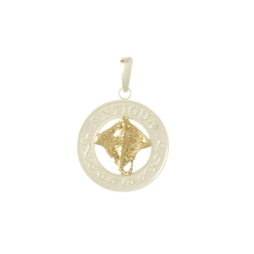 Sterling Silver & 14K Gold Antigua Circle Pendant by FindingKing (Image #1)