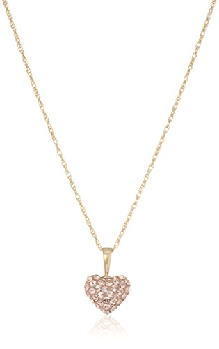 - Jewelili 10K Yellow Gold Swarovski Morganite Crystal 10mm with 14k Gold Filled Chain Puff Heart Pedant Necklace, 18