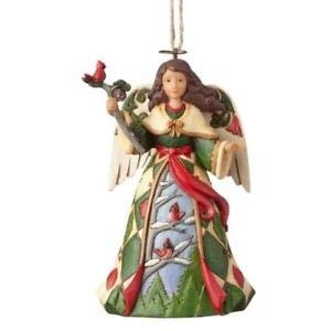 - Enesco 4058827 Green Angel with Cardinals Ornament, Multicolor