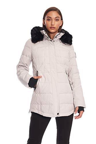 Alpine North Womens Down Short Winter Parka with Faux Fur, Silver, L